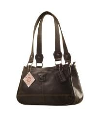 Genuine Leather Fashion Handbag eZeeBags YA818v1 - from the Maya Collection - Black.