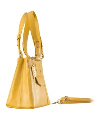 Dark, tall & handsome, Maya Collection YA824v1 by eZeeBags ladies leather handbag - stands tall in style & function - Yellow.