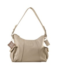 eZeeBags YA850v1 women's leather handbag. Large size, full width front, rear & 2 side pocket with adjustable shoulder strap - Pearl.