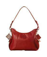 eZeeBags YA850v1 women's leather handbag. Large size, full width front, rear & 2 side pocket with adjustable shoulder strap - Red.