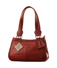 Genuine Leather Fashion Handbag eZeeBags YA818v1 - from the Maya Collection - Red.