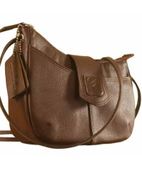 This curvy genuine leather sling bag is all about you & how you carry your style & confidence eZeeBags - YT846v1 - Brown.