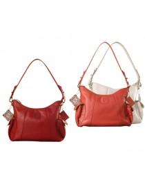eZeeBags YA850v1 women's leather handbag. Large size, full width front, rear & 2 side pocket with adjustable shoulder strap.