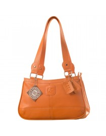 Genuine Leather Fashion Handbag eZeeBags YA818v1 - from the Maya Collection - Orange.